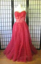 Vintage 1940s 1950s Red Ball Gown Dress Formal Maxi Tulle XS S 30 32 Strapless