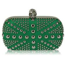 green union jack skull CLUTCH  BAG diamante 135 WEDDING EVENING hard case