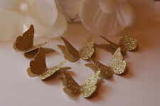 25 GOLD GLITTER 3D BUTTERFLY WEDDING CONFETTI, TABLE DECORATION, TOPPERS