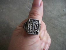 vintage 1950 VIRGO zodiac  Mexican Biker Ring signet sterling Mexico 10.5