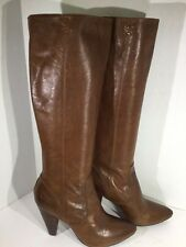 FRYE Regina Zip Tall Heel Leather Boots Brown Womens Size 9 ZC-661
