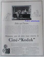 PUBLICITE CINE KODAK CAMERA KODASCOPE KODAGRAPH FILM BEBE SUR L'ECRAN DE 1929 AD
