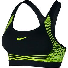 Nike Pro Hyper Classic Padded Medium Support Dri-Fit Sports Bra Black Volt Sz S