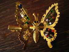 Haarclip Haarspange Schmetterling mit Perlen gold Flügel beweglich Kinder Traum