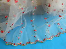 """52"""" Wide Lace Organza  Fabric with Embroidery Flowers and Scalloped Edge"""
