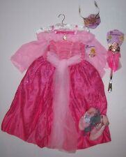 NWT Disney Store L 9-10 Deluxe Sleeping Beauty Aurora Costume Tiara Wand & Shoes