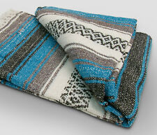 #11 Turquoise Mexican Falsa Blanket Open Road Bed Throw New Beach Picnic Yoga