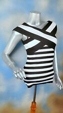 INC INTERNATIONAL CONCEPTS rib knit black white stripe criss cross blouse top M