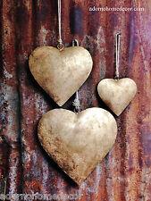 Large Iron Heart Set Jute Rope Recycled Metal Rustic Chic Garden Indoor Outdoor