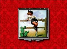 COWGIRL COUNTRY WESTERN PIN UP GIRL V2 VINTAGE MAKEUP POCKET COMPACT MIRROR