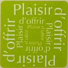 12 Etiquettes autocollantes stickers 'PLAISIR D'OFFRIR' Coloris Vert  / Ref ROC1