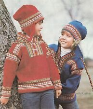 Knitting Pattern For A Childs Nordic Jumper and Ear Flap Hat