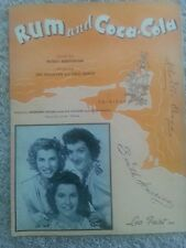 VINTAGE SHEET MUSIC (1944) RUM AND COCA-COLA SONG FEATURING ANDREWS SISTERS