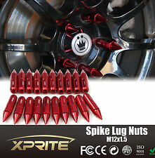 20 Aluminum Spike Tuner Extended Lug Nuts for Wheels Rims M12X1.5 60mm RED