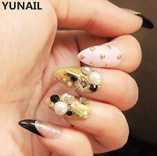 Bride Wedding Long Nail Tips 24pcs Transparent Golden with Rivets Fake Nails