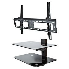 "Tilt TV Wall Mount Flat Bracket 30"" - 60"" & Component Shelf 2 Tier AV DVD Stand"