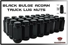 "32 PC CHEVY 2500 3500 14X1.5 BLACK GLOSS BULGE ACORN LUG NUTS XL TALL 2"" ACORN"