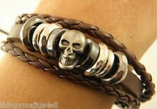 GENUINE LEATHER BROWN SKULL WRISTBAND WRIST STRAP BAND BRACELET THIN BANGLE