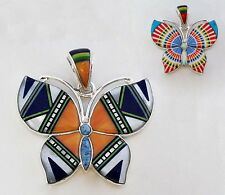 LOVABLE HANDCRAFTED BUTTERFLY PENDANT TURQUOISE/MULTICOLOR  INLAY .925 SILVER