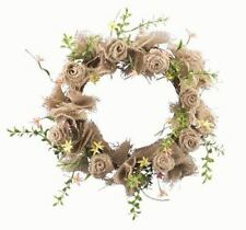 """NATURAL BURLAP ROSE WREATH WITH GREENERY & FLORAL ACCENTS approx. 14"""" DIAMETER"""
