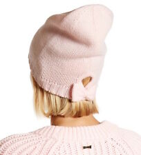 Kate Spade New York Hat Gathered Bow Beanie Pastry Pink NEW
