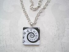 CLOCK FACE SWIRL BLACK & WHITE Glass Tile SP Chain Necklace Alice in Wonderland