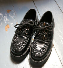 Underground black leather double soled creepers 5 38
