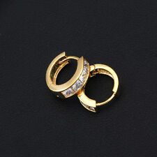 Fashion Classic Womens Huggies Earrings Gold Filled With Crystal Hoop Hot Sale