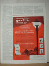 1960 Coleman Gas-Lite Lamp Home Heating Air Conditioning Vintage Print Ad 10326