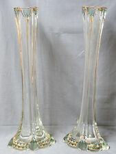 Paire de Grands Vases Soliflore en Cristal Décor Émaillé et Dorure 20 e / 50 cm