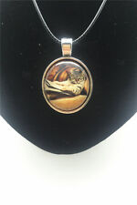 Vintage Book Bespectacled Cat Cabochon Glass Tibet Silver Pendant Necklace New#1