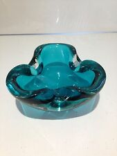 VINTAGE TURQUOISE BLUE CLEAR MURANO SOMMERSO GLASS GEODE BOWL DISH ASHTRAY LEAF