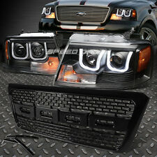 BLACK AMBER U-HALO PROJECTOR HEADLIGHT+LED DRL+RAPTOR MESH GRILL FOR 04-08 F150