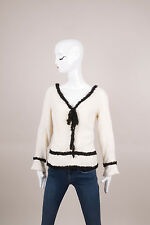 Chanel NWT Cream/Black Sequin Embellished Long Sleeve Knit Top SZ 42