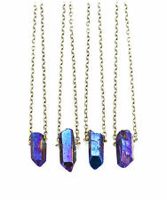 Blue galaxy crystal court necklace-bullet Stone Vintage boho-quartz bijoux
