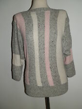 VINTAGE 80'S TIGI WEAR SILK MIX TRI COLOUR STRIPE JUMPER SLASH NECK SOFT & WARM