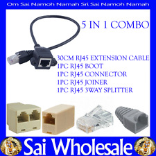 5IN1 1FT 30CM RJ45 Male to Female Screw Ethernet LAN Network Extension Cable