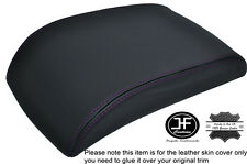 PURPLE STITCHING BLACK LEATHER ARMREST LID COVER  FITS VW TOURAN CADDY 2003-2010