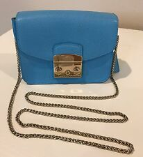 FURLA Atlantic Blue Leather Mini Flap Chain Cross Body Shoulder Authentic Italy