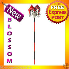 A34 Red Evil Vile Psycho Jester Skull Cane Halloween Fancy Costume Accessories