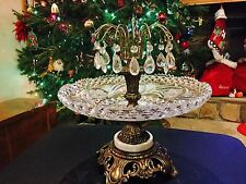 Mid century Crystal Bowl Dangling Metal Brass Marble stand base-Unique Rare BIG