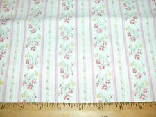 Ticking Stripe Quilt Fabric Floral Flowers Pink Stripes BTY