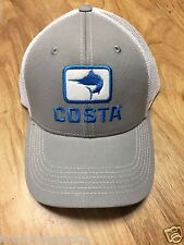 BRAND NEW COSTA DEL MAR MARLIN FITTED STRETCH CAP HAT  GRAY AND WHITE - HOT HOT