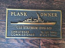 "Awesome Navy USS STETHEM (DDG 63) Plank Owner Plaque - 7 1/8"" x 3 7/8"" - 2.5 lb"