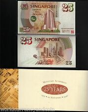 SINGAPORE $25 P33 1995 MAS COMMEMORATIVE UNC LION WITH FOLDER CURRENCY BANK NOTE