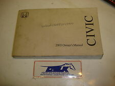 03 2003 HONDA CIVIC COUPE OWNERS MANUAL OWNER / USER MANUAL BOOKLET OEM USED