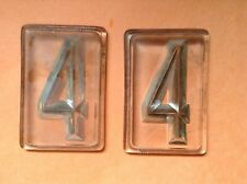 "Vintage Pair Number 4 GLASS 2 3/4 x 1 7/8"" Old TILES House HOME Address AnTiQuE"