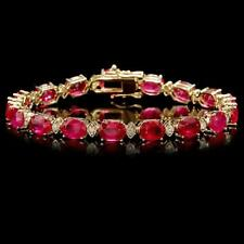 26.90Ct Natural Ruby & Diamond 14K Solid Yellow Gold Bracelet