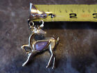 vintage DEER GOLDTONE PIN/BROOCH WITH lilac colored stone