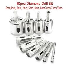 10pcs 6mm-30mm Diamond Hole Saw Set Drill Bit Cutter Tile Glass Ceramic Marble